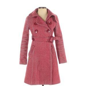 Soia & Kyo Pink Herringbone Pattern Wool Coat